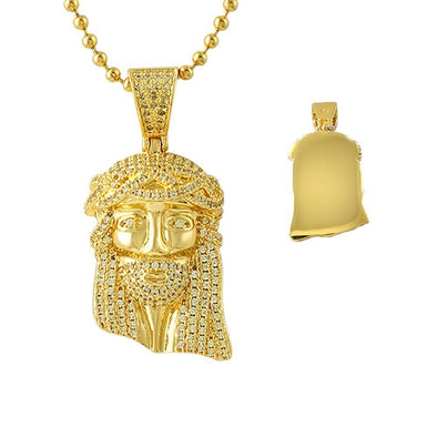 Iced Out Lemonade Gold Micro Jesus Pendant (Free 36 Inch Bead Chain)