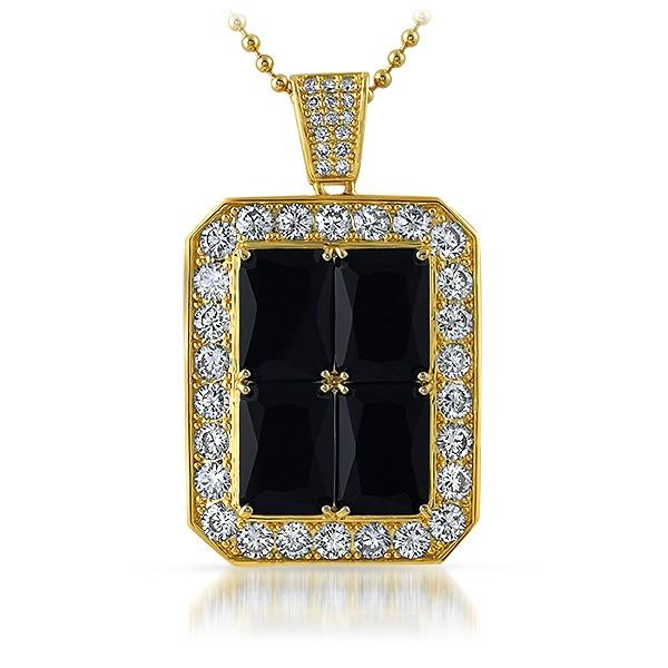 Rick Ross Pendant Style Quad Iced Out Lab Made Black Diamonds