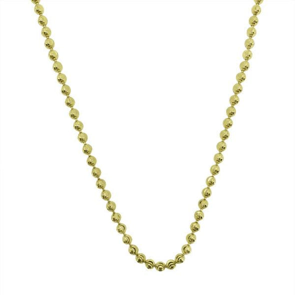 Gold Moon Cut Chain .925 Sterling Silver 2MM