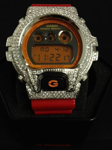 Custom Bling G Shock Red Watch DW6900