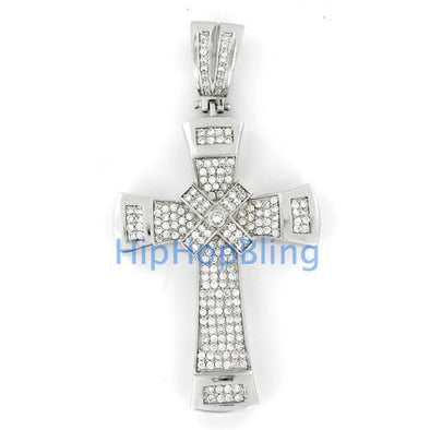 Classy X Cross CZ Micro Pave Bling Bling Pendant