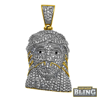 Fully Iced Out Gold Stainless Steel Medium Jesus Piece