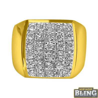 10K Yellow Gold CZ Mens Bold Bling Bling Ring