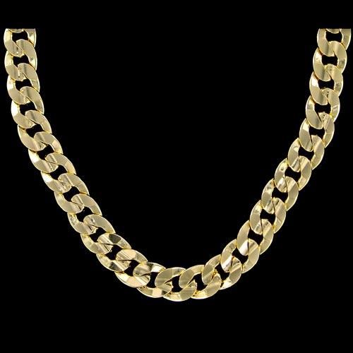 Cuban Concave 10mm 24 Inch Gold Plated Hip Hop Chain Necklace