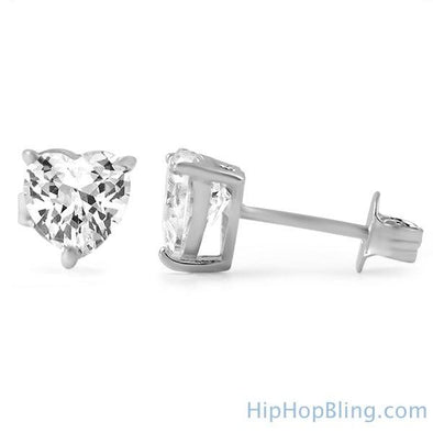 Heart Cut CZ Stud Earrings .925 Silver