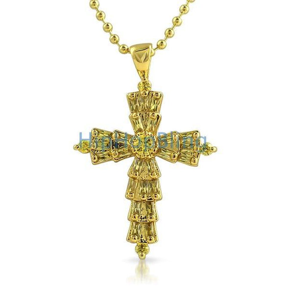Custom Baguette Cross Canary CZ Gold