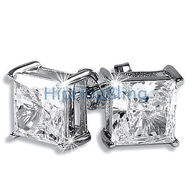 8mm Princess Cut Signity CZ Solitaire Sterling Silver Earrings