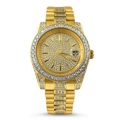 The Executive Gold Steel CZ Watch
