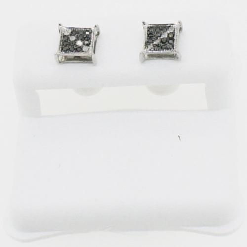 Diagonal Stripe Box Black Diamond .925 Silver Earrings