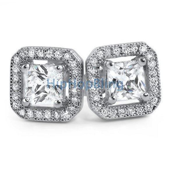 Princess Ice Island Micro Pave Iced Out Earrings