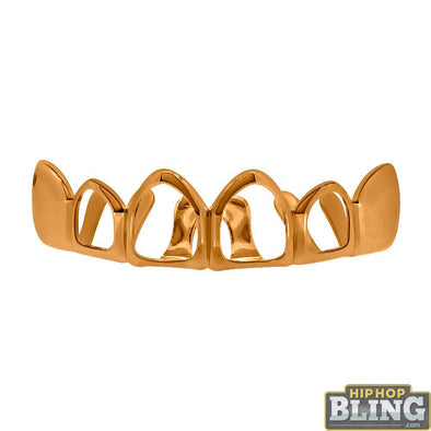 Rose Gold Grillz 4 Open Outline Top Teeth