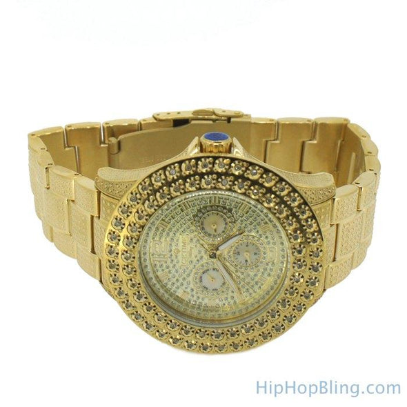 Gold 2 Row .50 Carat Diamond Hip Hop Watch