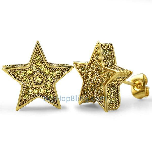 3D Star Jumbo Lemonade CZ Bling Bling Earrings