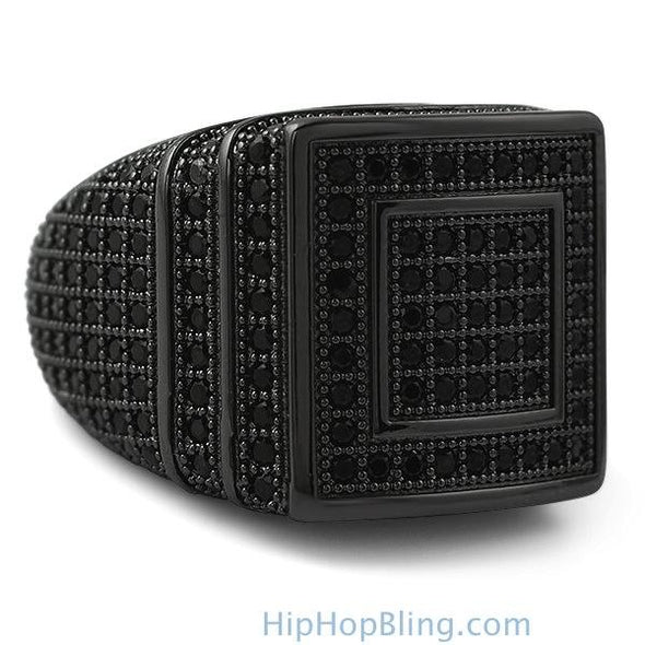 Ice Stacked Black CZ Micro Pave Iced Out Ring