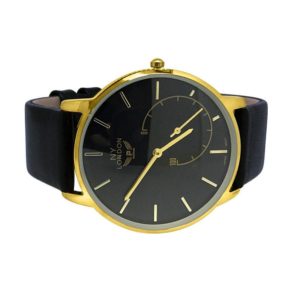 Clean Gold Case Black Dial and Band Watch