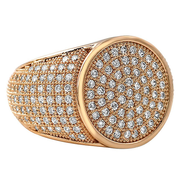 Round Rose Gold CZ Micro Pave Bling Ring