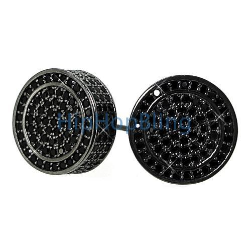 Custom Black CZ 3D Circle Bling Bling Earrings .925 Silver
