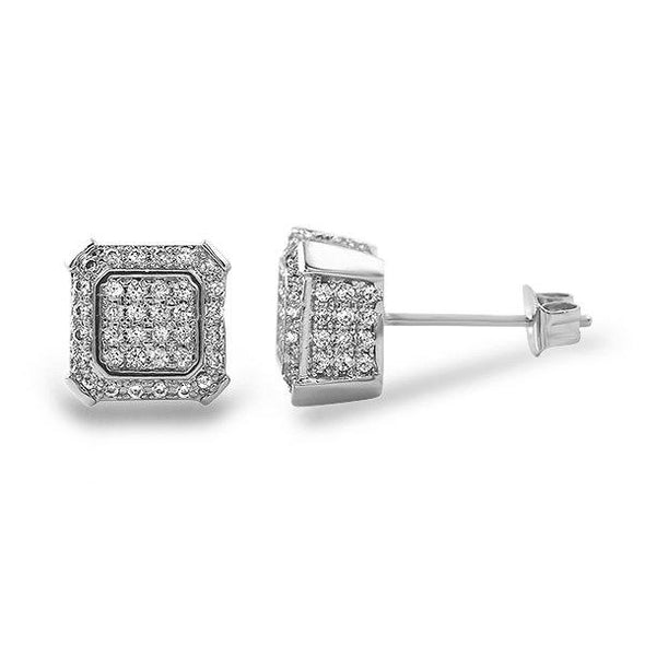 Ballers Hip Hop Rhodium CZ Bling Earrings