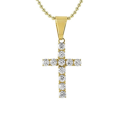 4MM CZ Cross Gold Stainless Steel Bling Bling (Free 36 Inch Bead Chain)
