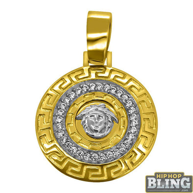 10K Yellow Gold Medusa Greek Border CZ Medallion