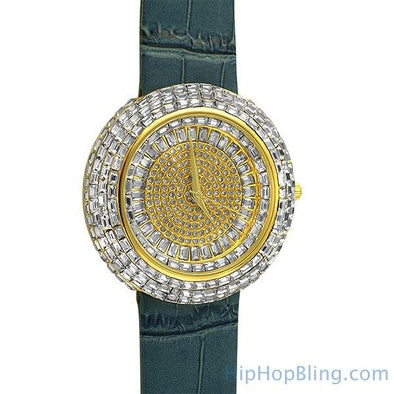 Baguette Ice Orbit Gold Bling Bling Watch Blue