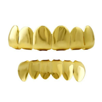 Gold Grillz Shiny Top & Bottom Teeth Set