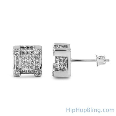 Cube Iced Out CZ Earrings Rhodium