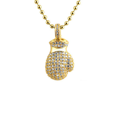 3D Mini Boxing Glove Gold CZ Pendant (Free 36 Inch Bead Chain)