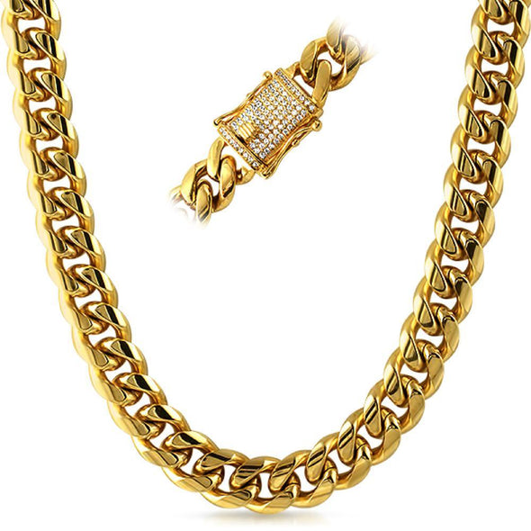 CZ Diamond Lock Cuban Chain 14MM Gold Steel