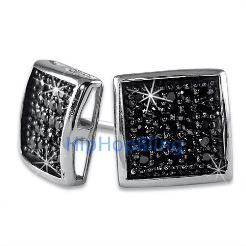 Deep Box Medium Black CZ Micropave Earrings .925 Silver