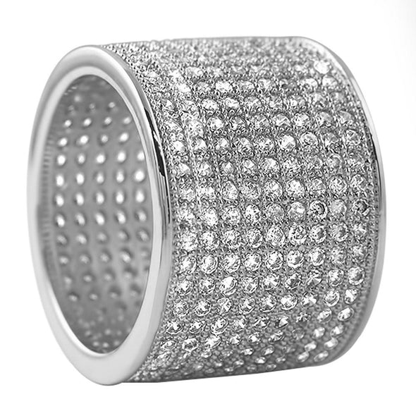 9 Row 360 Eternity Rhodium Bling Bling Ring