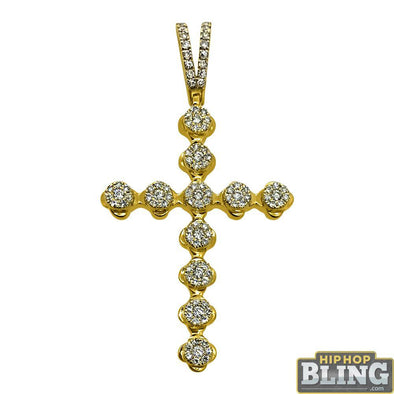 .73cttw Diamond Cluster Cross Pendant 14K Yellow Gold