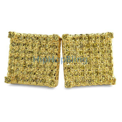 Custom Micro Pave Earrings Lemonade CZ Cubes