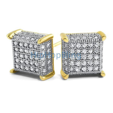 3D Cube CZ Gold Micro Pave Iced Out Earrings