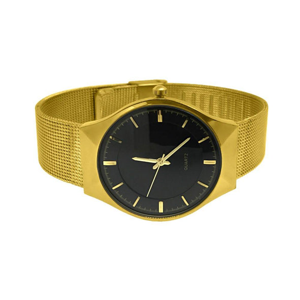 Mesh Band Black Dial Gold Modern Watch
