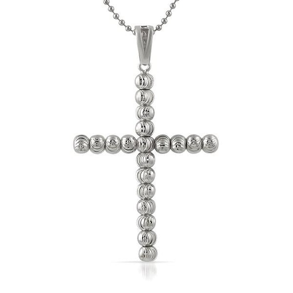 .925 Sterling Silver Moon Cut Cross 6MM