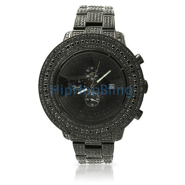 Custom Lab Made Black Hip Hop Watch All Iced Out