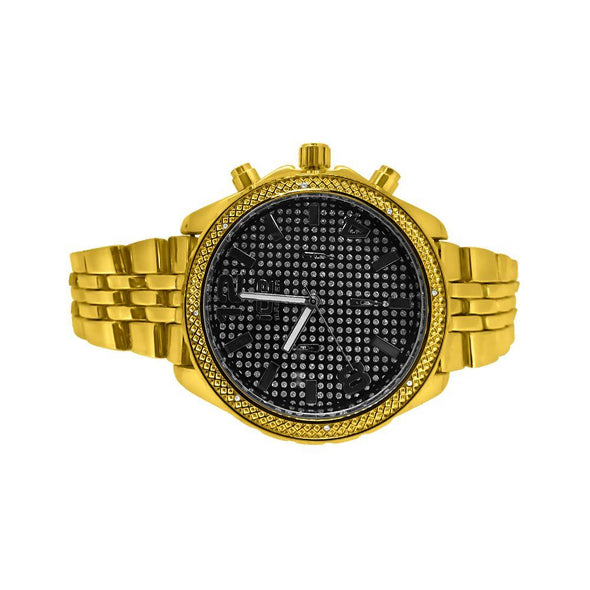 Black Dial Gold Sport Jubilee Hip Hop Watch