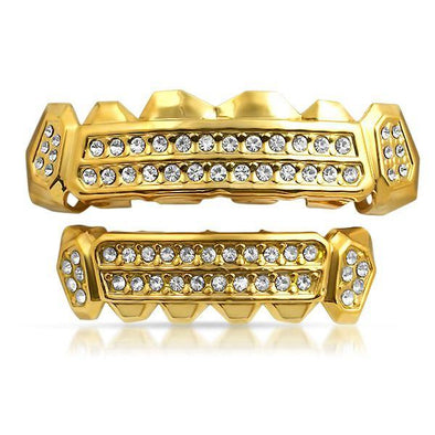 Customized Grillz Gold Teeth Top Bottom Set