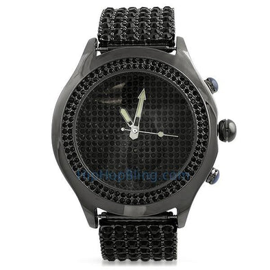 Black Blizzard Bling Bling Watch & 6 Row Band