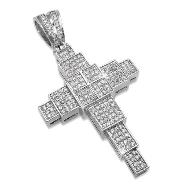 Building Blocks Cross CZ Micro Pave Bling Bling Pendant