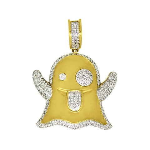 10K Yellow Gold Emoji Ghost .54 Carat Diamond Pendant