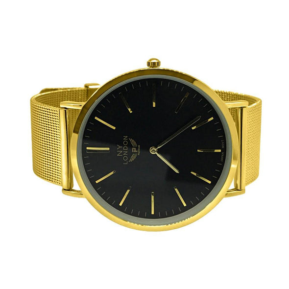 Clean Black Dial Gold Mesh Band Watch