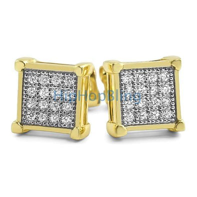 Box CZ Micro Pave Gold Bling Bling Earrings
