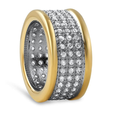 Gold 360 Eternity CZ Micro Pave Bling Bling Ring Steel
