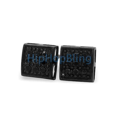 All Black SM Puffed Box CZ Micro Pave Earrings .925 Silver