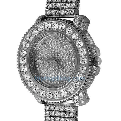 Big Rocks Full Bling Hip Hop Watch & 6 Row Band