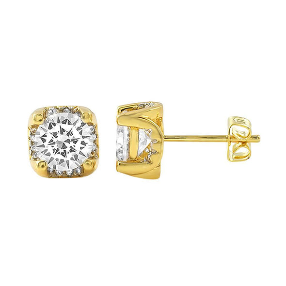 Iced Out Setting Gold CZ Stud Earrings