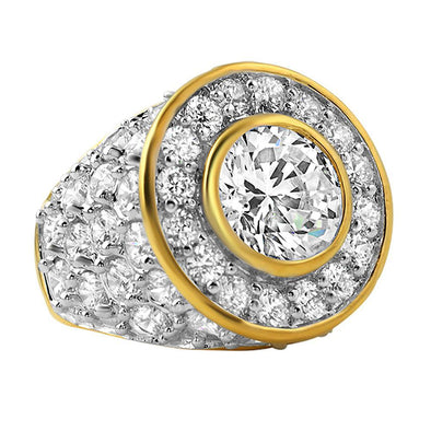 Custom Centerstone Gold CZ Bling Bling Ring