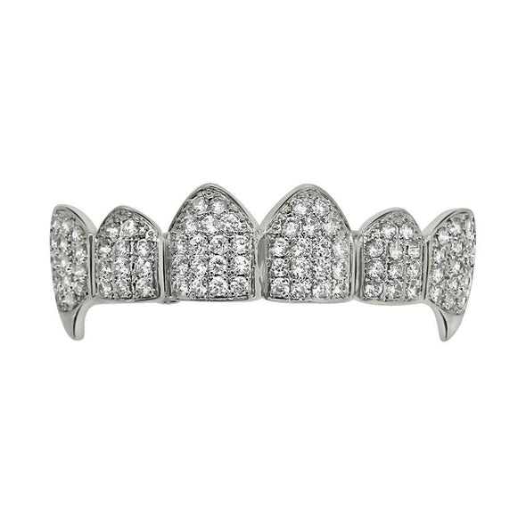 Bling Bling Vampire Grillz CZ Silver Top Teeth